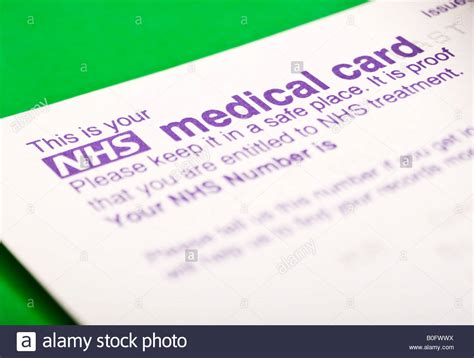 Uk Nhs Number Card Stock Photo Royalty Free Image