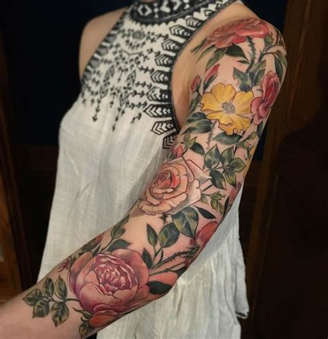 flower garden tattoos flowery sleeve