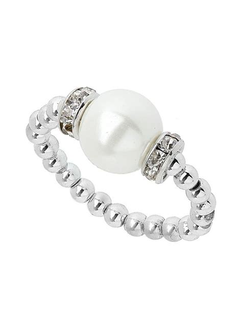 beaded stretch rings silver bead and imitation pearl stretch ring diy