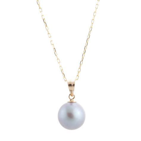 grey pearl pre single pearl necklace with gold chain 3 colors