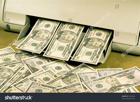 at home for money counterfeit money on a home ink jet printer stock