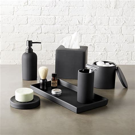 Black And White Bathroom Accessories by Rubber Coated Black Bath Accessories Cb2