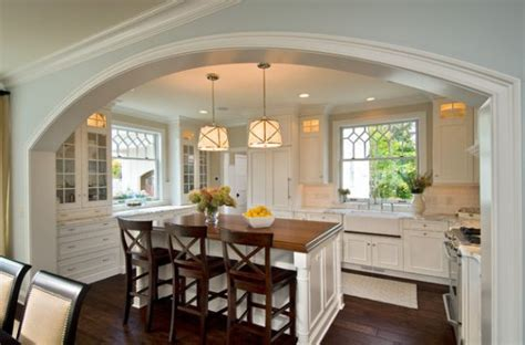 compact kitchen island with two large grosvenor one light