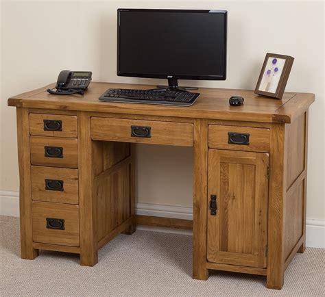 wood computer desks for home cotswold solid oak rustic wood pc computer desk home