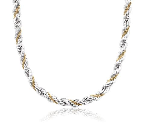 chain jewelry rope chain necklace in sterling silver and 18k yellow gold