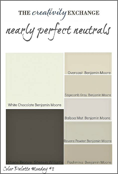 real simple foolproof paint colors for every room in the house nearly neutrals color palette monday 2