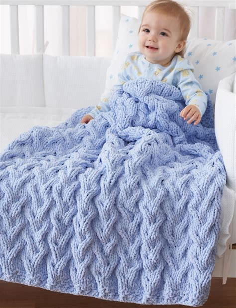 Bernat Shadow Cable Baby Blanket Knit Pattern