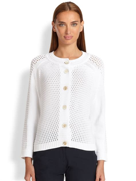 white knitted cardigan piazza sempione open knit cotton cardigan in white