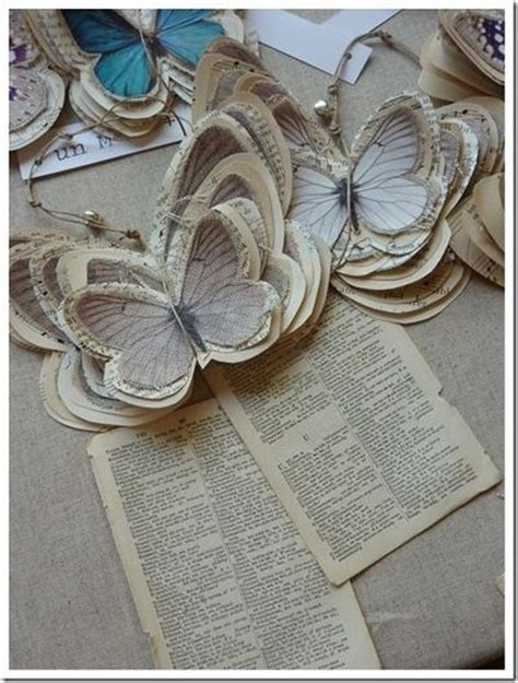 book paper crafts diy paper butterfly ornaments or tags from book pages