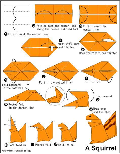 origami squirrel diagram tutorial corso gratis come fare gli origami