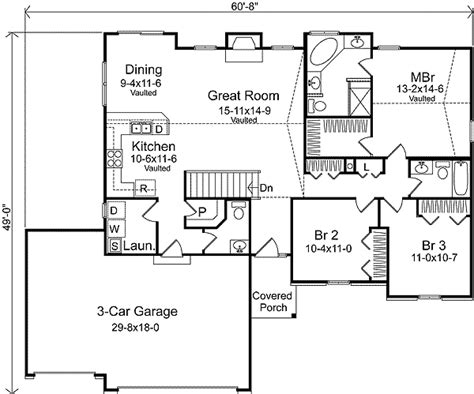 floor plans with 3 car garage ranch living with three car garage 22006sl 1st floor