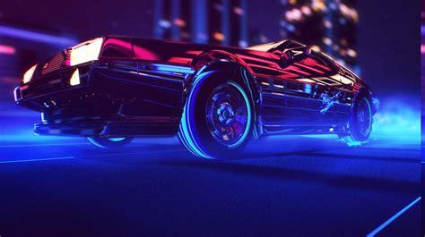 80s Car Wallpaper by Synthwave 1980s Neon Delorean Car Retro