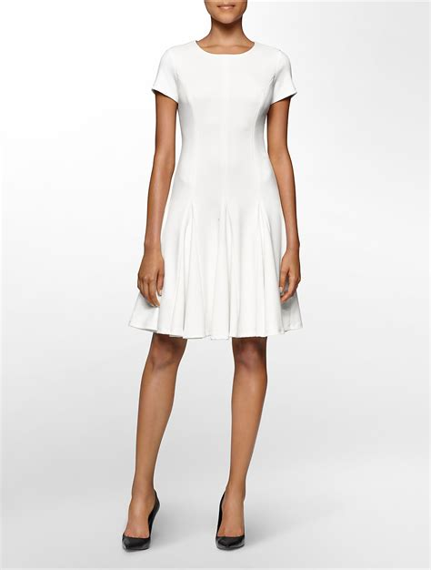 white ponte knit dress calvin klein white label ponte knit cap sleeve fit flare