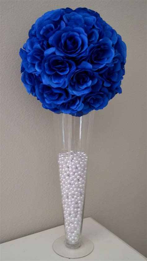 blue and silver centerpieces royal blue wedding flower wedding by