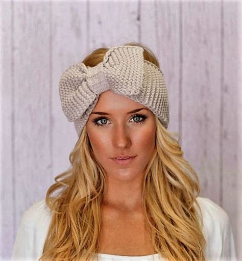 knitted headband with bow knitted bow headband large bow ear warmer giddy up