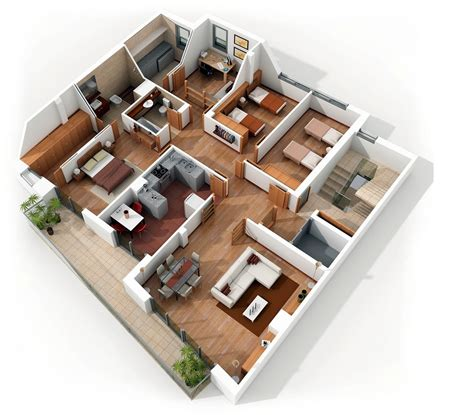 4 room house 4 bedroom apartment house plans