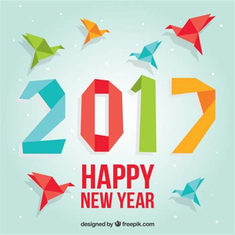 Colored Origami New Year Background Vector Free