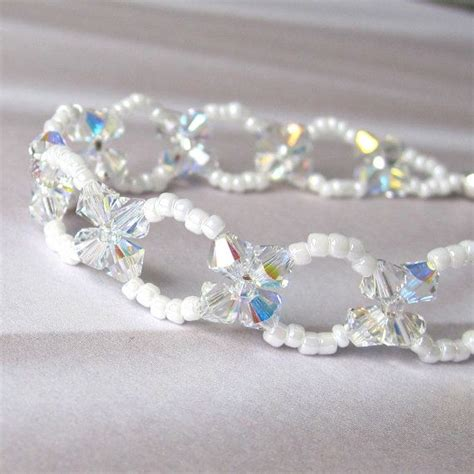 swarovski bead bracelet swarovski bead woven bracelet choice of colors