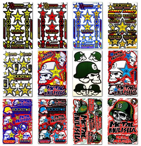 new rockstar energy racing motocross bike stickers mulisha bmx atv helmet decals ebay