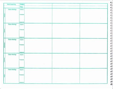 lesson plans for picture books weekly lesson plan book 7 period format 038537 details