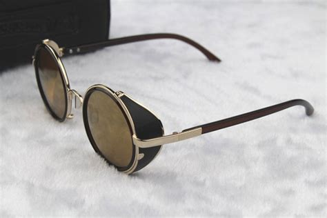 with glasses steunk glasses gold brown with side shades