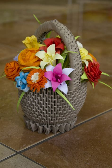 how to make origami flower basket pap 237 rvil 225 g sz 237 nes vir 225 gkos 225 r colourful origami flower