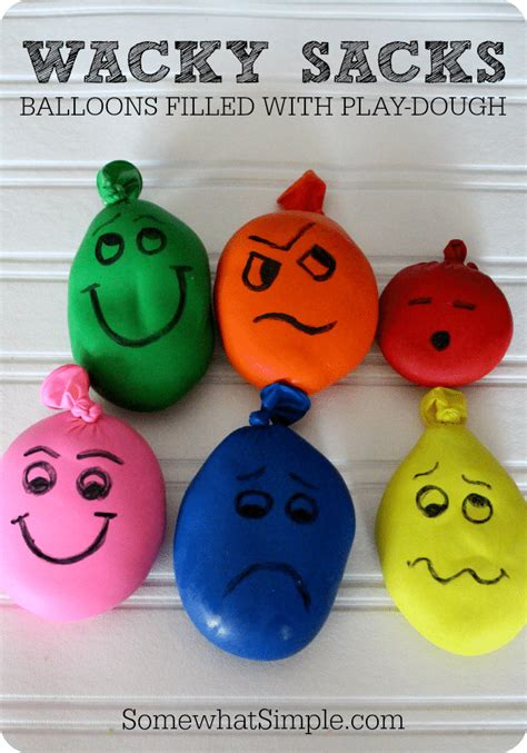 easy kid crafts wacky sacks balloons filled with playdough somewhat simple