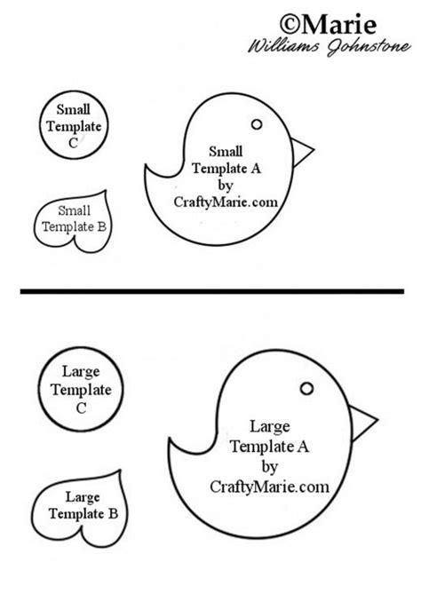 paper bird craft template whimsical felt or paper bird template