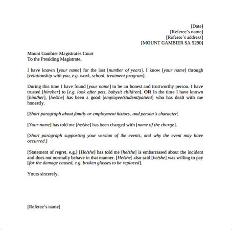 search results for simple reference letter template