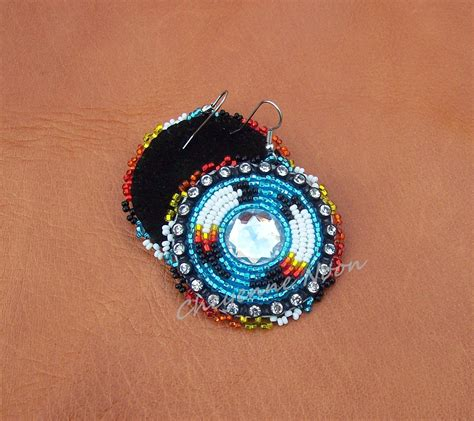 American Beaded Earrings Two Feathers By Cheyennenoon