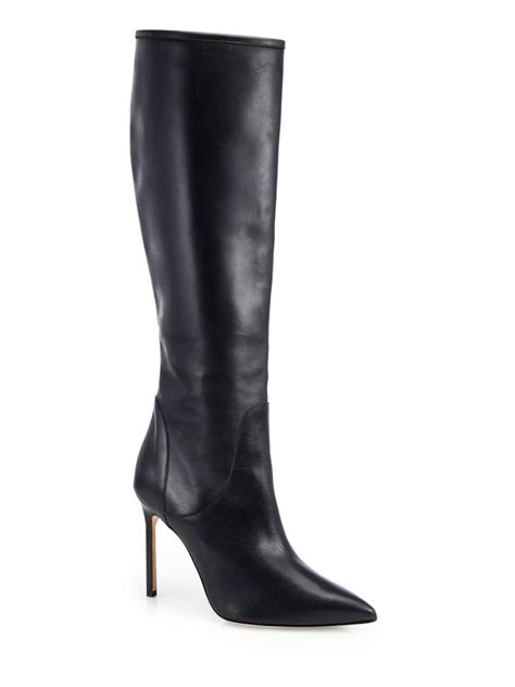 leather knee high boots for manolo blahnik hanzuotal leather knee high boots in black lyst