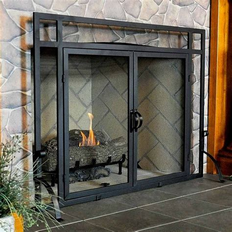 fireplace screen with glass doors vintage fireplace screens with doors for family room