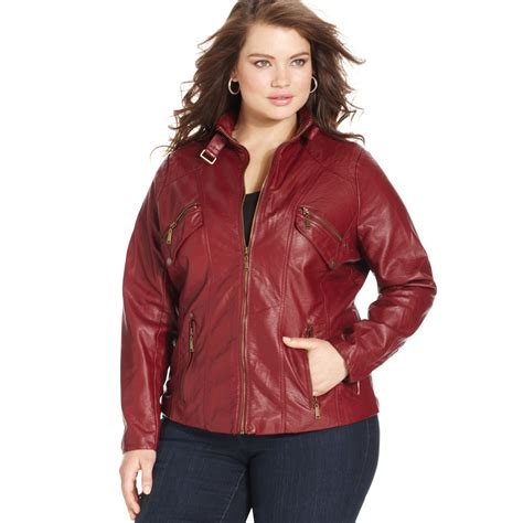 plus size leather jackets for jou jou plus size fauxleather moto jacket in burgundy