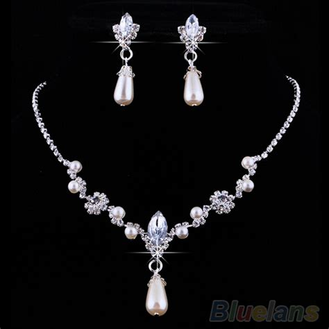 how to make rhinestone jewelry bridal wedding faux pearls rhinestone necklace water drop