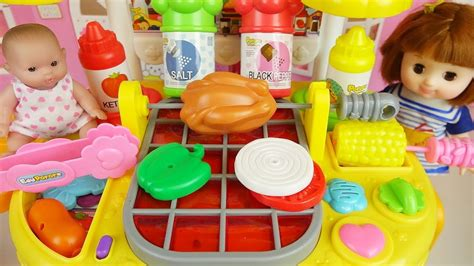 Baby Doll And Grill Kitchen Food Cooking Toys Play