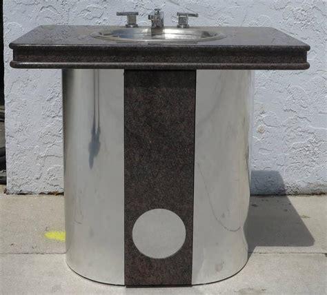 vintage sherle wagner vanity sink black granite top with