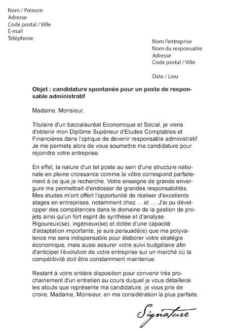 lettre de motivation responsable administratif mod 232 le de lettre