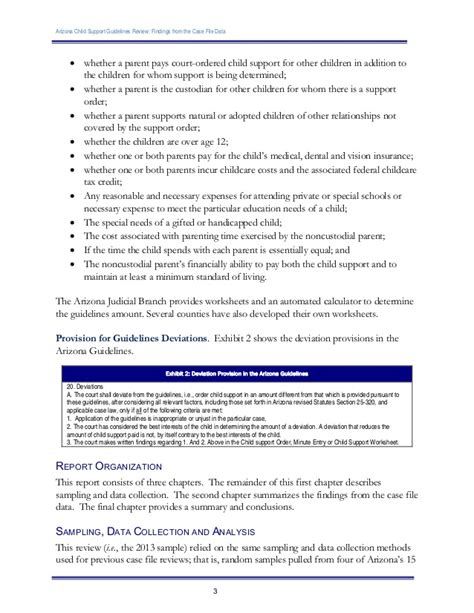 Az Child Support Guidelines Review Findings