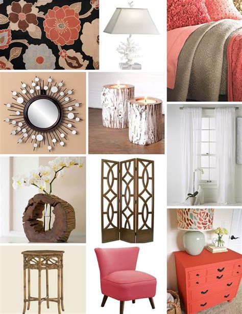 and coral bedroom decor with wood accents bedroom