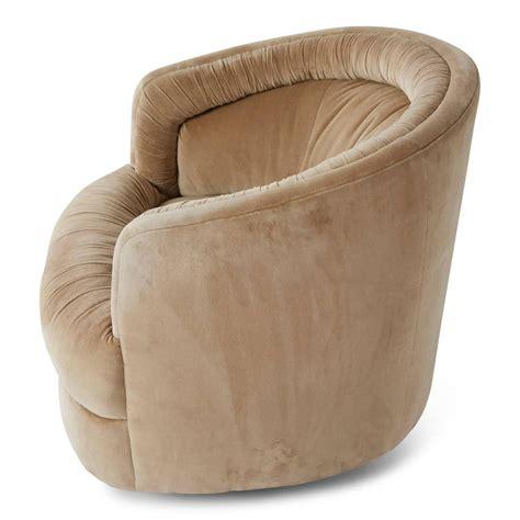 milo baughman style velvet swivel barrel chair for sale at 1stdibs