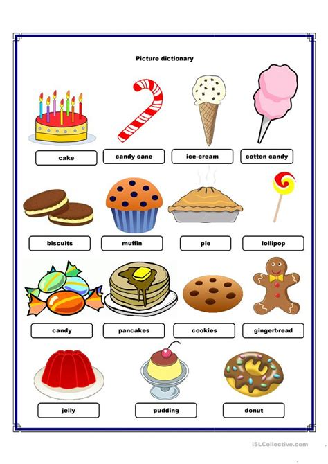 Picture Dictionary Sweets Worksheet  Free Esl Printable Worksheets Made By Teachers