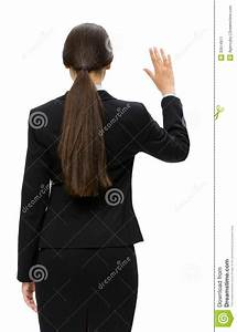 Backview Of Business Woman Waving Hand Stock Image - Image ...