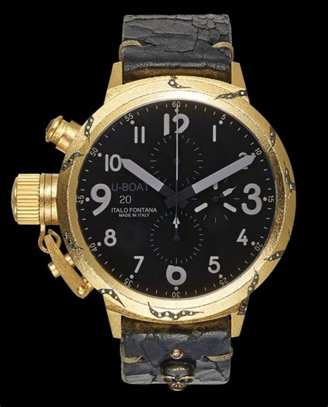 U Boat Watch With Diamonds by U Boat Opere Uniche Hera Flightdeck 18k Gold Case Fissuree