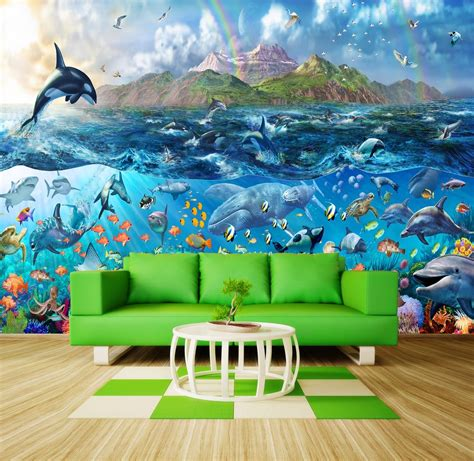 tropical sea fishes orca wallpaper wall mural