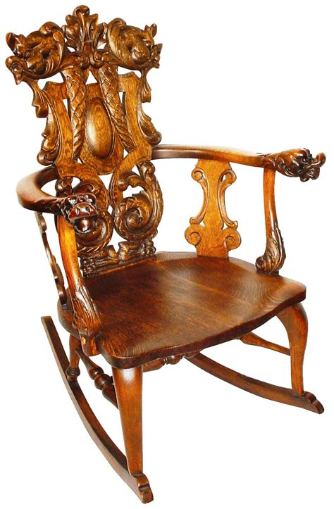 this ornately carved rocker is a stickley but not gustav