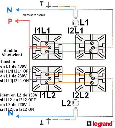 branchement installation 233 lectrique circuits va et vient avec 2 interrupteurs en et courant 130v