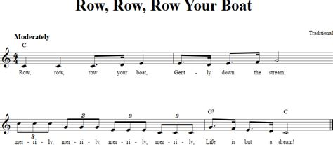 Row Row Row Your Boat Notes Piano by Row Row Row Your Boat Chords Lyrics And Sheet Music