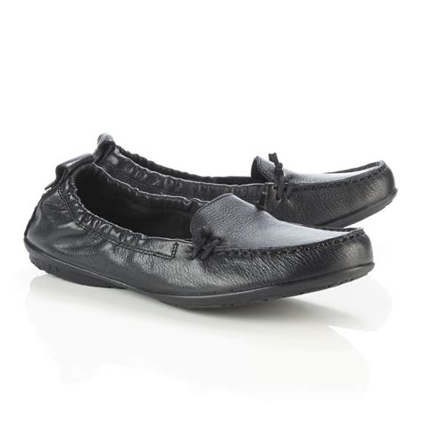 hush puppies s ceil black leather moccasin wide