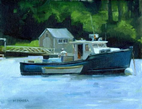 Lobster Boat Art by Checking Things Over Lobster Boat Rockport Maine