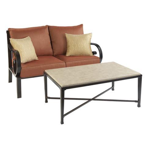 allen roth pardini patio wicker loveseat sofa table set